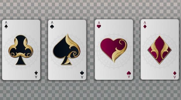 Zestaw czterech asów eleganckich kolorów kart do gry