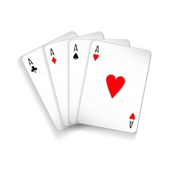 Zestaw czterech asów talii kart do gry w pokera i kasyno na białym tle. piki, karo, trefle i kiery.