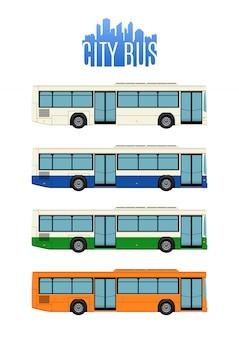 Zestaw czterech autobusów miejskich.