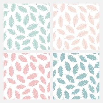 Zestaw czterech bezszwowych wzorów z kolorowymi piórami