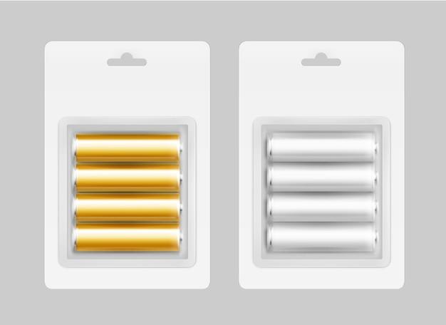 Zestaw czterech biało-srebrnoszarych złotożółtych błyszczących baterii alkalicznych aa w białym blistrze