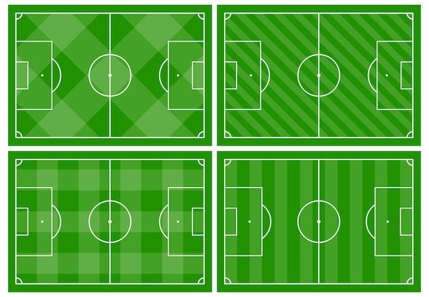 Zestaw czterech boisk piłkarskich z różnymi ozdobami zielonej trawy. boisko do gry w piłkę nożną. ilustracja wektorowa