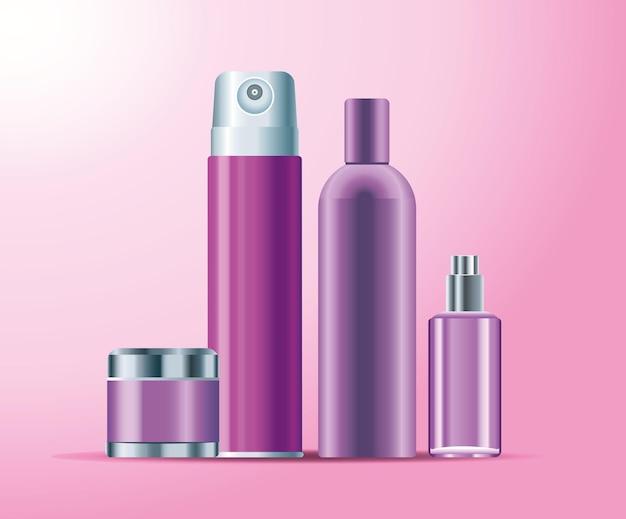 Zestaw czterech butelek do pielęgnacji skóry fioletowy kolor ikony produktów ilustracja