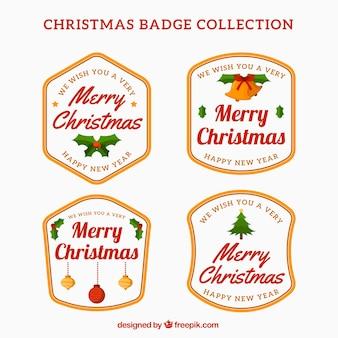 Zestaw czterech christmas odznaki