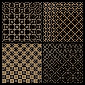 Zestaw czterech ciemnych bezszwowych wzorów kwiatowych w stylu orientalnym