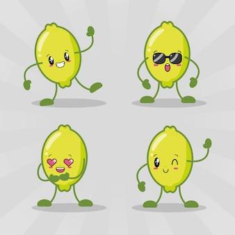 Zestaw czterech cytryn kawaii z różnymi wyrażeniami