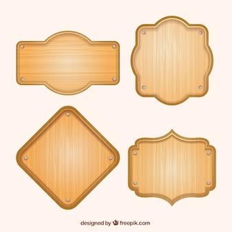 Zestaw czterech drewnianych plakatów w płaskim stylu