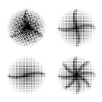 Zestaw czterech efektów rastrowych z czarnymi paskami falistymi, kreatywne abstrakcyjne elementy geometryczne w kształcie koła.