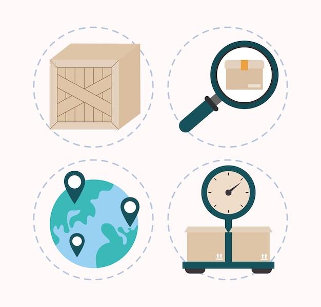 Zestaw czterech elementów logistycznych