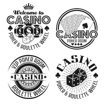 Zestaw czterech emblematów do kasyna i hazardu