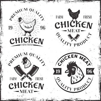 Zestaw czterech emblematów z kurczaka