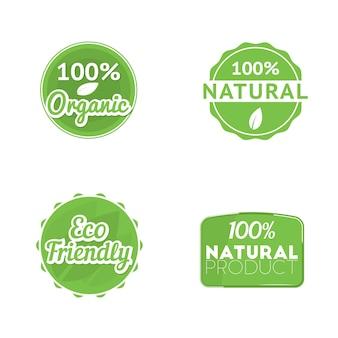 """Zestaw czterech etykiet ekologicznych: znaczek """"100% ekologiczny"""", emblemat """"100% naturalny"""" i ekologiczny znak. wektor."""