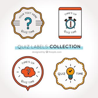 Zestaw czterech etykiet quizu z geometrycznych kształtów