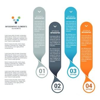 Zestaw czterech flat infografiki