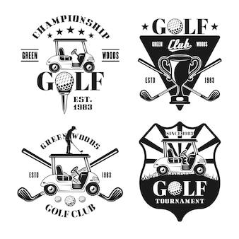 Zestaw czterech golfowych wektorów monochromatycznych emblematów, odznak, etykiet lub logo w stylu vintage na białym tle