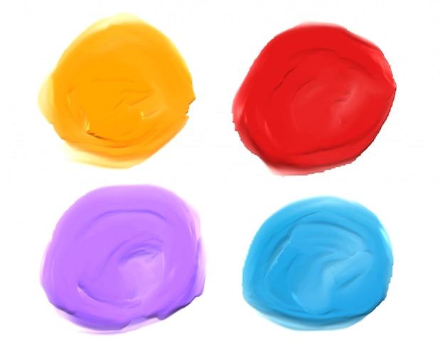 Zestaw czterech grubych akrylowych plam akwarelowych