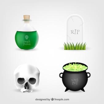 Zestaw czterech halloween elementów
