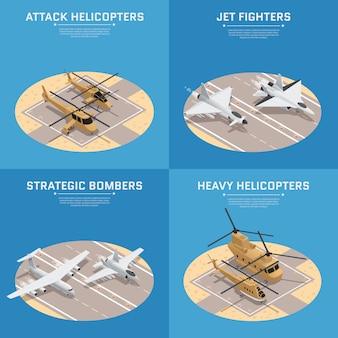 Zestaw czterech ikon kwadratowych izometryczne wojskowe siły powietrzne