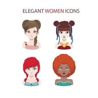 Zestaw czterech ikon modnych kobiet