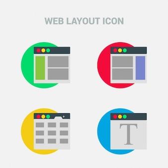Zestaw czterech ikon układu strony sieci web