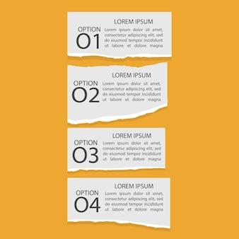 Zestaw czterech infografik rozdartego papieru z liczbami i tekstem
