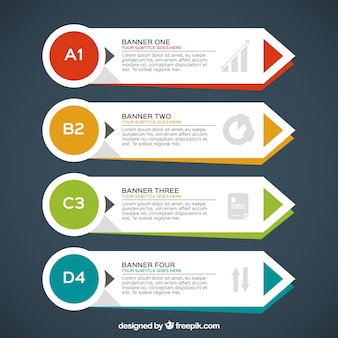 Zestaw czterech infographic transparenty z form geometrycznych