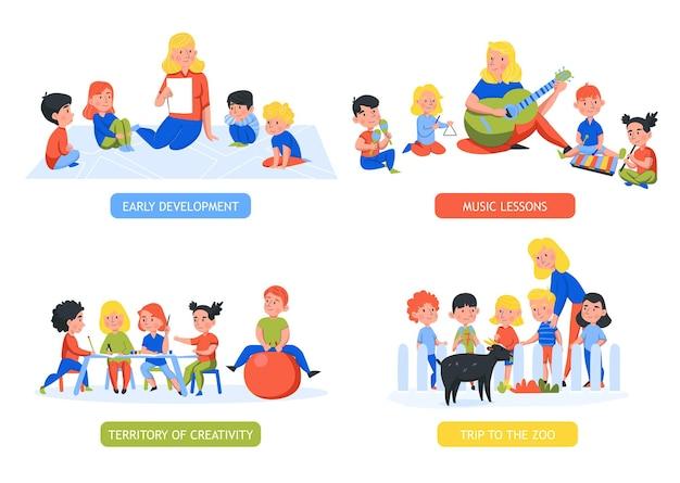 Zestaw czterech izolowanych kompozycji przedszkolnych z edytowalnym tekstem i postaciami ludzkimi dzieci z nauczycielami