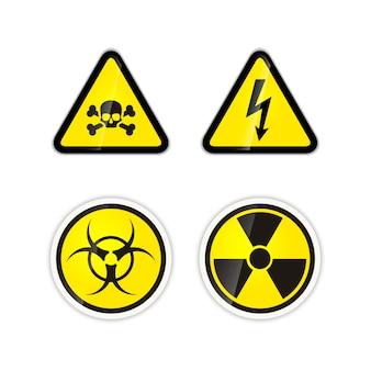Zestaw czterech jasnych znaków ostrzegawczych dla wysokiego napięcia, promieniowania, zagrożenia biologicznego i trucizny wyizolowanych