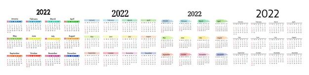 Zestaw czterech kalendarzy na rok 2022 na białym tle na białym tle. od niedzieli do poniedziałku, szablon biznesowy. ilustracja wektorowa