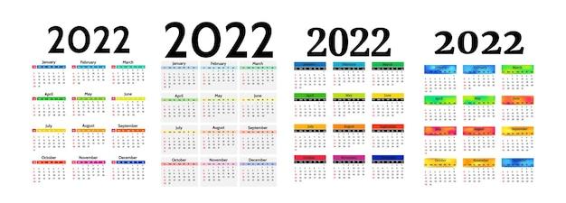 Zestaw czterech kalendarzy pionowych na rok 2022 na białym tle na białym tle. od niedzieli do poniedziałku, szablon biznesowy. ilustracja wektorowa