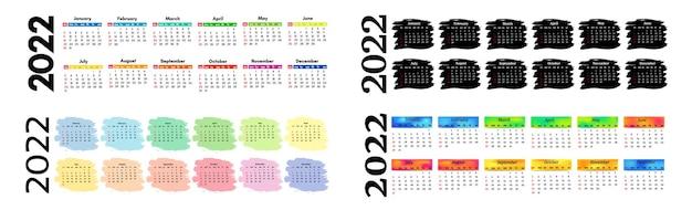 Zestaw czterech kalendarzy poziomych na rok 2022 na białym tle na białym tle. od niedzieli do poniedziałku, szablon biznesowy. ilustracja wektorowa
