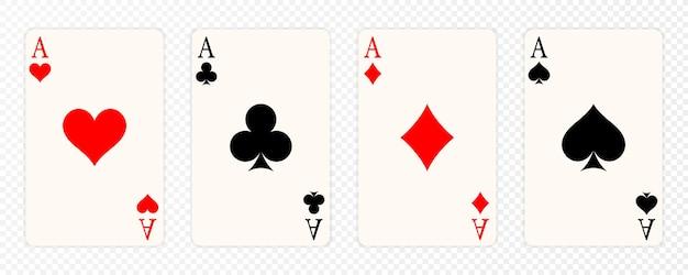 Zestaw czterech kart do gry asów. zwycięski układ w pokera. zestaw as kier, pik, trefl i karo.