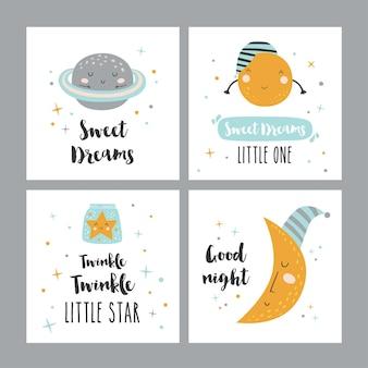 Zestaw czterech kart nocnych z uroczymi postaciami z kreskówek i frazami.