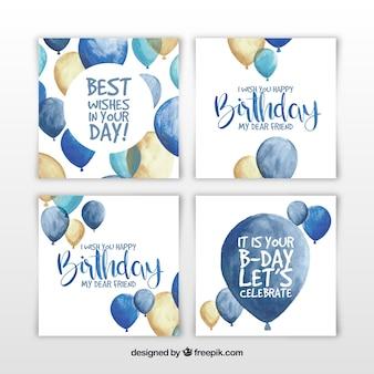 Zestaw czterech kart urodziny akwarela z balonów