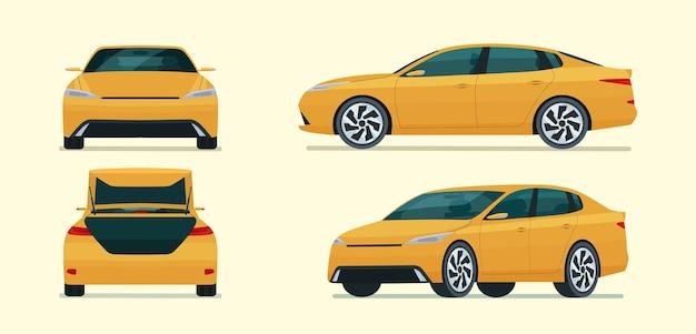 Zestaw czterech kątów do samochodu sedan. widok z boku, tyłu i przodu samochodu. płaska ilustracja.