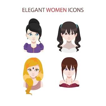 Zestaw czterech klasycznych ikon kobiet