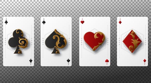 Zestaw czterech kolorów kart do gry asów. karty do gry na przezroczystym tle.
