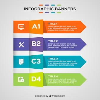 Zestaw czterech kolorowych banerów infographic
