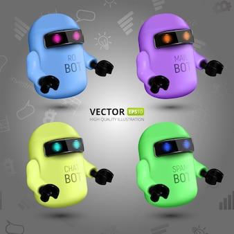 Zestaw czterech kolorowych botów czatowych, koncepcja wirtualnego asystenta