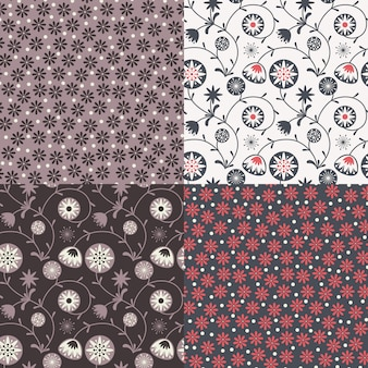 Zestaw czterech kolorowych kwiatowych wzorów (bez płytek).