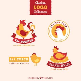 Zestaw czterech kolorowych logo z kurczaka