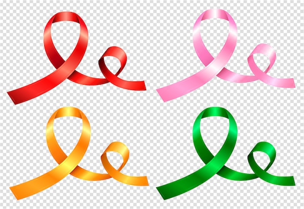 Zestaw czterech kolorowych wstążek w kolorach czerwonym, różowym, żółtym i zielonym