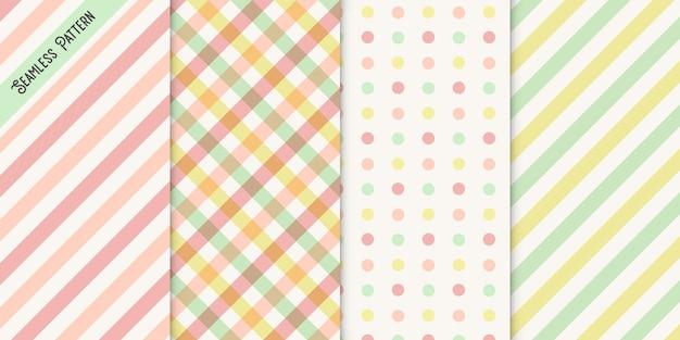 Zestaw czterech kolorowych wzorów bez szwu