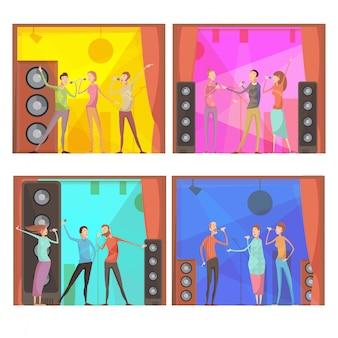 Zestaw czterech kompozycji płaskich karaoke z grupą śpiewających postaci przyjaciół w klubie interio