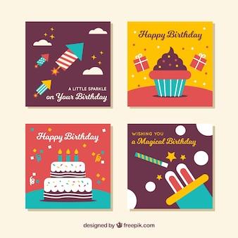 Zestaw czterech kwadratowych kart urodzinowych w płaskiej konstrukcji