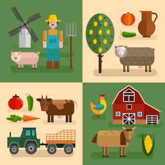 Zestaw czterech kwadratowych płaskich farm z różnymi typami gospodarstw