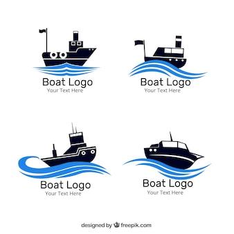 Zestaw czterech logo łodzi