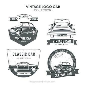 Zestaw czterech logo samochodów w stylu retro