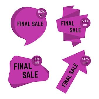 Zestaw czterech naklejek pirple sprzedaży końcowej z tekstem. sprzedam szablon etykiety. ilustracja wektorowa