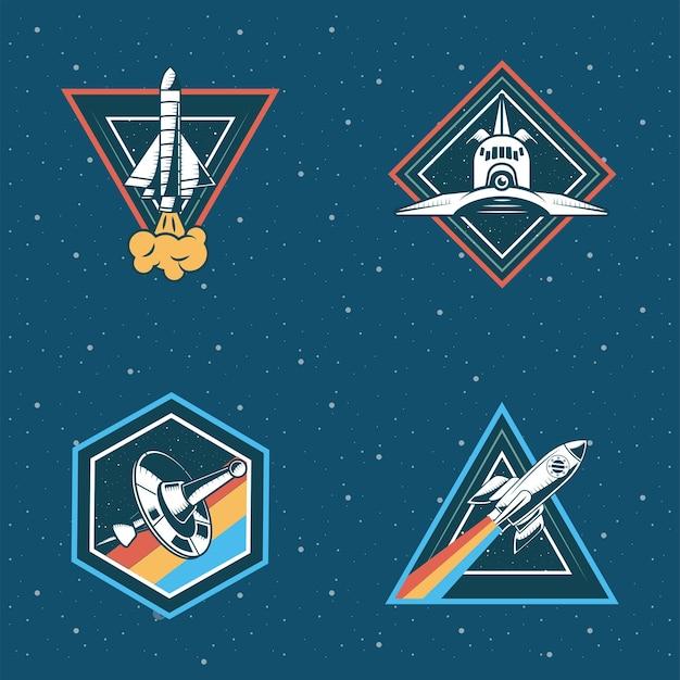 Zestaw czterech naszywek kosmicznych